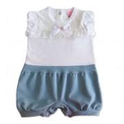 Macacão de Bebê Renda Branco e Azul