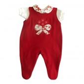 Macacão Vermelho com Body para Bebê Menina