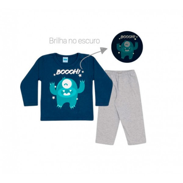 Pijama Infantil Que Brilha no Escuro para Menino