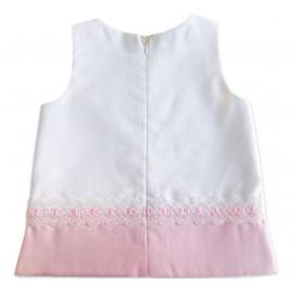 Vestido Bebê Piquet Branco e Rosa