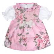 Vestido Floral para Bebê com Pérolas