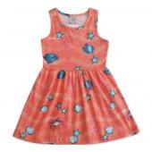 Vestido Infantil Fundo do Mar Laranja