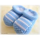Sapatinho de Tricô para Bebê Azul Bebê