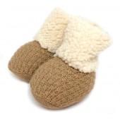 Sapatinho de Bebê Bege Botinha de Inverno