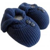 Sapatinho de Tricô para Bebê Azul Marinho