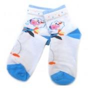 Meia Infantil TriFil Feminina Branca e Azul Passarinho Tamanho 27-30