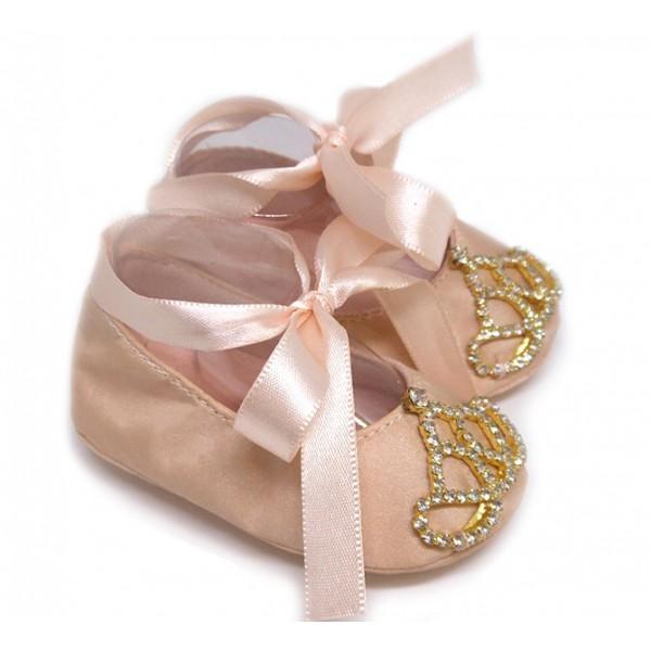 Sapatilha de Bebê Rosê com Coroa de Strass