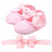 Sapatilha de Bebê Rosa com Faixa