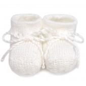 Sapatinho de Tricô Branco Unissex para Bebê
