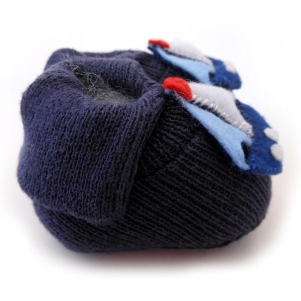 e1022f699 Sapatinho de Bebê Menino Tricô Barquinho Azul Marinho
