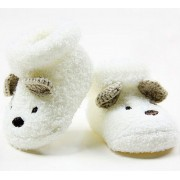 Sapatinho de Bebê Unissex Branco Ursinho