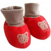Sapatinho de Bebê Vermelho e Bege
