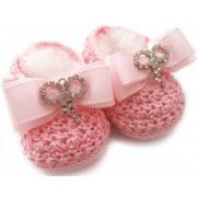 Sapatinho de Crochê Rosa para Bebê Menina Laço de Strass