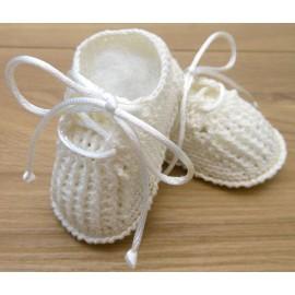 Sapatinho de Crochê para Bebê Unissex Off-White