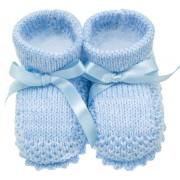 Sapatinho de Tricô Azul para Bebê