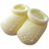 Sapatinho de Tricô Amarelo para Bebê