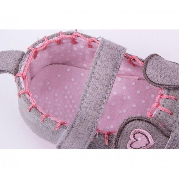 Sapatilha de Bebê Menina Rosa e Cinza