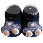 Sapatinho de Bebê Azul Marinho Carrinho