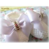 Sapato de Bebê Branco Laço de Cetim com Strass e Pérola
