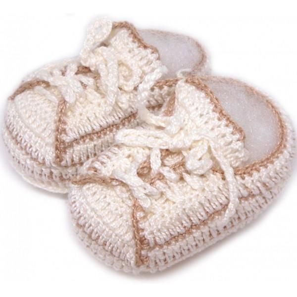 Tênis de Crochê All Star Bege para Bebê